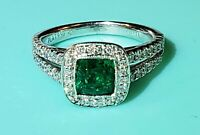 SCOTT KAY Platinum, Diamond & Columbian Emerald Ring (Size 4.25 US), Halo Mount