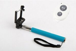 Selfie Extendable Handheld Monopod Holder with Remote for iPhone Mobile Blue