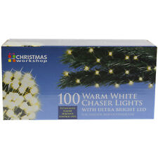 100 Warm White Indoor Outdoor Chaser Christmas Xmas Lights With Ultra Bright LED