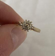Cluster Ring 9K 375 9ct Gold Vintage Diamond