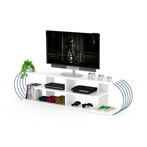 Media Tv Console, Tv stand, Oval Media Stand, Tv Unit, Tv Stand, White/Blue