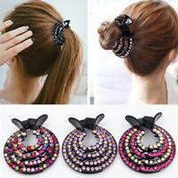 KQ_ KE_ AU_ Women Nest Expanding Rhinestone Hairpin Hair Claw Clip Bun Hol