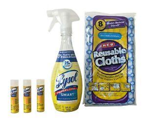 Lysol Smart Citrus Breeze Cleaner Bundle:  3 cartridges + 8 HEB Reusable Cloths