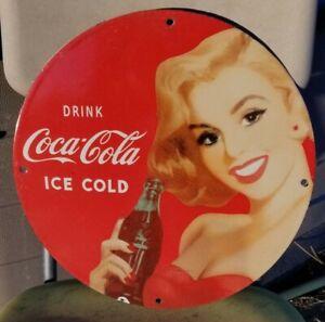 COCA COLA COKE PORCELAIN SIGN SODA POP BOTTLE MONROE ICE PEPSI MAN CAVE GARAGE