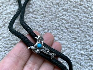 Western Bolo Tie/ SADDLE figurel Silver Pewter? Turquoise Stone COWBOY RODEO