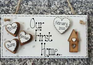 Personalised Our First Home Family Hanging Plaque/Sign, Wooden, New Home Gift