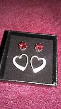 RED CZ & Heart Stud *PIERCED* Earring Set POSTS Avon Fashion Jewelry NEW IN BOX