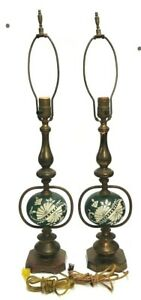 MATCHING SET OF 2 BRASS & GREEN / WHITE PORCELAIN ELECTRIC TABLE LAMPS VINTAGE