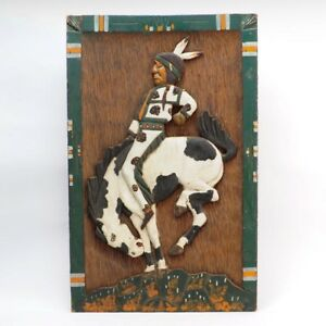 Antique Hand Carved Bas Relief Native American Riding Bronco