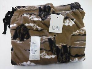 MENS SIZE SMALL CROFT & BARROW BROWN BEAR FLEECE SLEEP LOUNGE PANTS NEW #20011