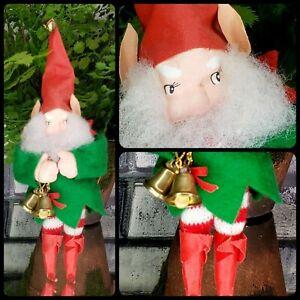 Fabulous Vintage Paper Mache Elf Ornament Taiwan Felt Bells Red  Pixie Gnome [E2