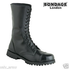 BLACK LEATHER BOOTS MILITARY STYLE HIGH QUALITY BONDAGE LONDON PUNK GOTH ARMY