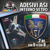 Adesivi / Stickers INTERNO VETRO ASI auto ruote storiche old rally epoca 5X6cm