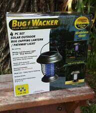 Bug Wacker 4 pc Solar outdoor Zapping Table Lantern / Pathway Light multi use