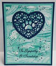 Handcrafted Greeting Card - Pet Sympathy Card - Blue & Teals