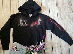 New L WOMEN'S  Tampa Bay Buccaneers Superbowl Champions Zip Up Jacket Hoodie