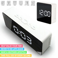 LED Digital Alarm Clock Night Light Thermometer Display Mirror Lamp Home Decor