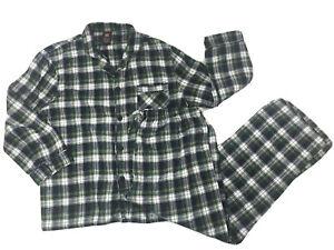 Hanes Blue Green Plaid Cotton Flannel Pajamas 2 piece Set Mens Large Soft Warm