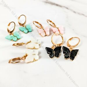Colourful Tiny Butterfly earrings Dangle Drop Cute Gold Birthday + GIFT BOX