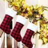 CHRISTMAS PLAID STOCKING GIFT CANDY STORAGE BAG HOLDER XMAS TREE ORNAMENTS DECOR