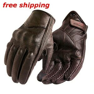 New Motorcycle Gloves Men Touch Screen Leather Bike Glove Cycling Full Finger