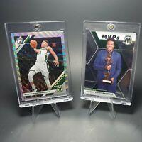 2x Giannis Antetokounmpo Mosaic MVP & Donruss Optic Prizm Silver Holo Card Lot