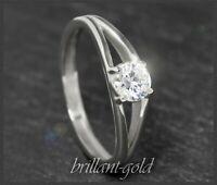 Brillant 585 Gold Diamant Solitär Ring 0,54ct in Si, 14K Weißgold Verlobungsring