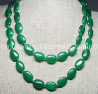 Natural 13x18mm Green Emerald Oval Gemstone Beads Necklace 36 inches JN761