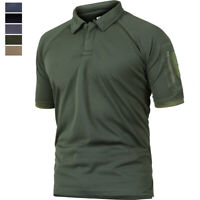 Tactical Mens Casual Short Sleeve Polo Shirt Outdoor Golf Sport Army Hiking Tops