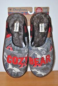 Dearfoams Men's Gray Cozy Bear Memory Foam Scuff Slippers  - Size 7-8