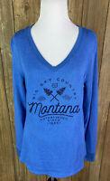 Camp David Womens Big Sky Country Montana Blue V Neck Sweatshirt Medium Souvenir
