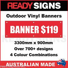 CUSTOM VINYL BANNERS - 3300mm x 900mm - Australian Made  - 700+ Designs