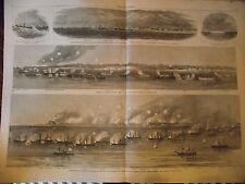 1865~FORTIFICATION OF FEDERAL POINT ~GEN. BUTLER~LARGE ORIGINAL CIVIL WAR PRINT