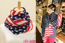 American Stars and Stripes Flag Fluffy Fashion Style Women's Warm Scarf-USA Sell