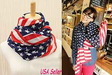 Ladies Stars and Stripes US American Flag Scarf Shawl Wrap Bandana - USA Seller