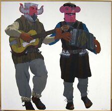 "Louis De Mayo ""Chapayeka Musicians"" Original Painting on Canvas Art MAKE OFFER"