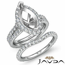 Marquise Diamond Semi Mount Engagement Ring Bridal Set 18k Gold White 1.90 ct.
