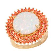 White Fire Opal Orange Zircon Yellow Gold Plated Women Jewelry Ring Sz7-9 OJ9606