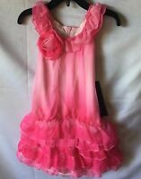 Isobella and Chloe Girls Pink Ombré Ruffled Drop Waist Party Dress Size 3T-New