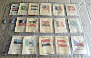 MULTI-LIST OF VINTAGE KENSITAS CIGARETTES NATIONAL FLAGS SILK  (L) 1934