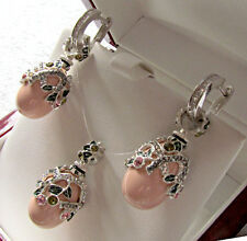 SUPERB ENAMEL EGG PENDANT & EARRINGS SET SOLID STERLING SILVER 925 GENUINE CORAL