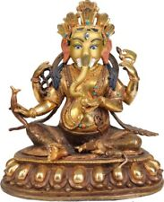 "JAI God Ganesha 6.5""Copper Statue Gilded 24 Karat Gold Hindu Figure India 1.13Kg"
