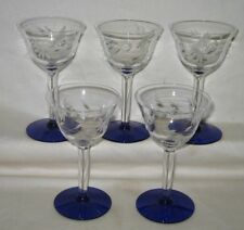 "(5) Weston Glass Etched 4 1/2"" Cordial Stemware Glasses Cobalt Blue Base"