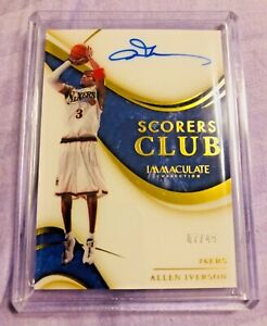 2019-20 PANINI IMMACULATE SCORERS CLUB 76ers ALLEN IVERSON # 07/49 On Card Auto