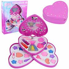3 Tier Girls Make Up Play Set in Pink Heart Shaped Plastic Case Kids Make Up