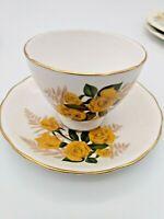 Royal Osborne Fine Bone China Tea Cup & Saucer Yellow Rose Gold Ferns & Trim