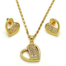 18K GOLD OVER SILVER BEAUTIFUL HEART SET EARRINGS AND PENDANT!!!