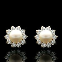 1CT Brilliant Diamond Pearl Earrings 14k Yellow Gold Flower Studs Screw-Back