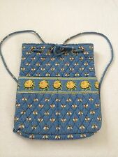 Vera Bradley Bees Backsack Drawstring Backpack Purse Blue Yellow Flowers