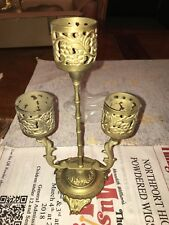 Vintage Collectible Solid Brass Etched Candle Holder Holds 3 Candles